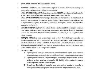 EDITAL DE CONVOCAÇÃO - ASSEMBLEIA  29/10/2020