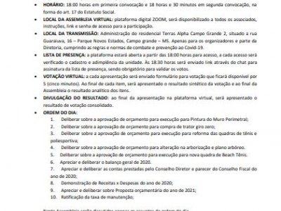 EDITAL DE CONVOCAÇÃO -ASSEMBLEIA 30/03/2021